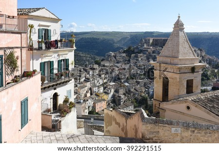 view of the baroque town, Ragusa Ibla, Sicily, Italy, Europe  - stock photo