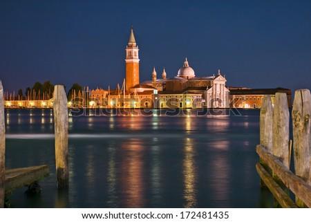 View of the Basilica Di San Giogio Maggiore in Venice at night. Long exposure photo. Venice, Italy. - stock photo