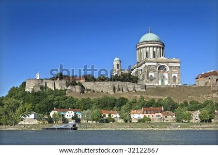 View of the Basilica in Esztergom, Hungary - stock photo