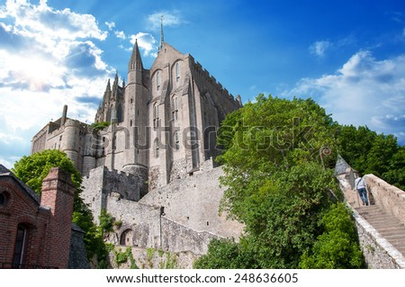 View of the Basilique at Mont-Saint-Michel, in France - stock photo