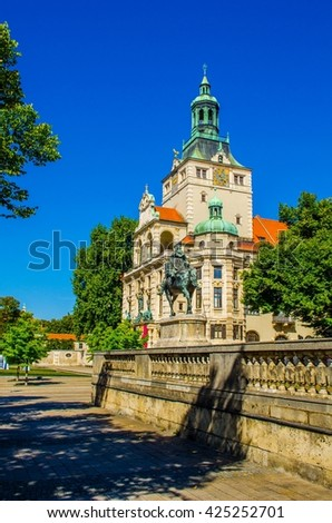 View of the bavarian national museum in munich - stock photo