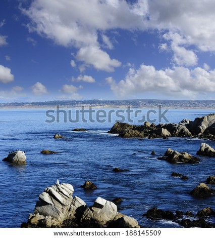 View of the bay at Monterey California. - stock photo