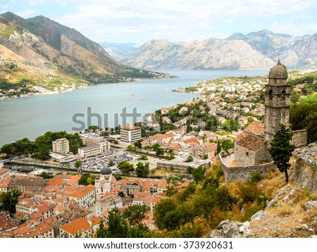 View of the Bay of Kotor, Montenegro, from Lovcen Mountain. Kotor is part of the UNESCO World Heritage Site. - stock photo