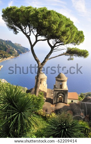 View of the Bay of Naples from Ravello, Italy. - stock photo