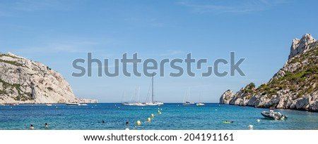 """View of the bay Sormiou in the """"Calanques"""" near Marseille in South France - stock photo"""