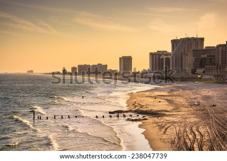 View of the beach and skyline from The Pier Shops at Caesars in Atlantic City, New Jersey. - stock photo