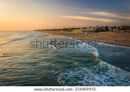 View of the beach at sunset, in Huntington Beach, California. - stock photo