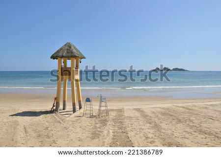 View of the beach lifeguard tower  - stock photo