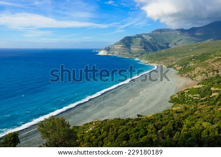View of the beach of Nonza, in Cap Corse, Corsica, France - stock photo