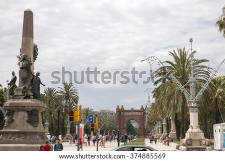 View of the beautiful avenue that leads to the Arc de Triomf, located in Barcelona, Spain - stock photo