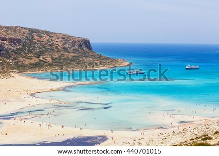 View of the beautiful beach in Balos Lagoon, Crete