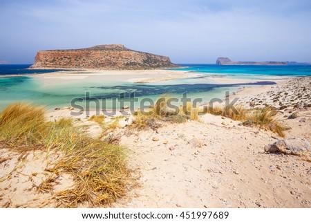 View of the beautiful beach in  Balos Lagoon, Crete - stock photo