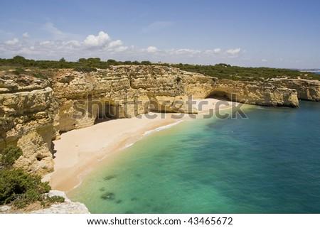 "View of the beautiful beach ""Praia da Marinha"" located on the Algarve, Portugal. - stock photo"