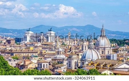 view of the beautiful cityscape of rome taken from the top of castel sant angelo. - stock photo