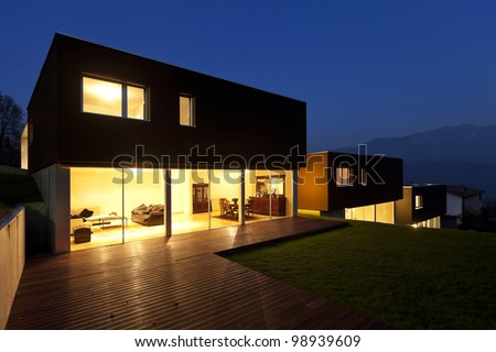 view of the beautiful modern houses,  outdoor at night - stock photo