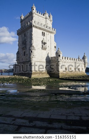 View of the beautiful monument Tower of Belem, located on Lisbon, Portugal.