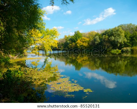 View of the beautiful river in autumn