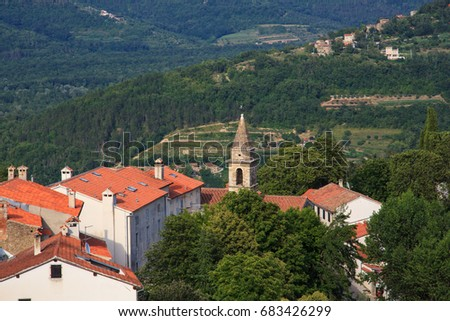 View of the belltower of the Church of St.John the Baptist and Blessed Virgin Mary of the Gate, Motovun