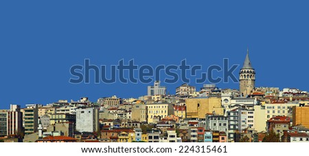 View of the Beyoglu, Istanbul. Turkey. - stock photo