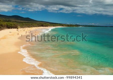 View of the big beach on maui hawaii island with azure ocean - stock photo