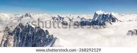 View of the big mountains in the French Alps - stock photo