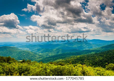 View of the Blue Ridge Mountains from Skyline Drive in Shenandoah National Park, Virginia. - stock photo