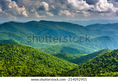 View of the Blue Ridge Mountains seen from Cowee Mountains Overlook on the Blue Ridge Parkway in North Carolina.