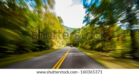 View of the Blue Ridge Parkway with motion blur. - stock photo