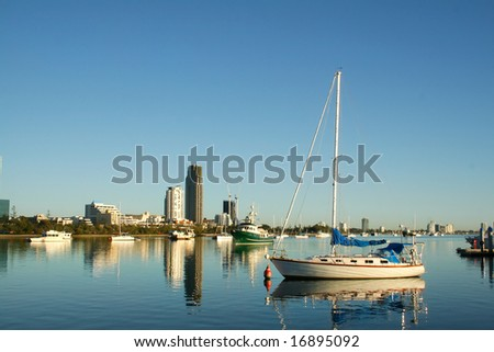 View of the boats on the Broadwater Gold Coast Australia looking toward Southport. - stock photo