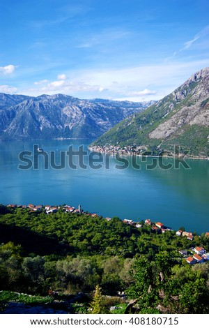 View of the Boka Bay from the village of Gornji Stoliv (Montenegro)