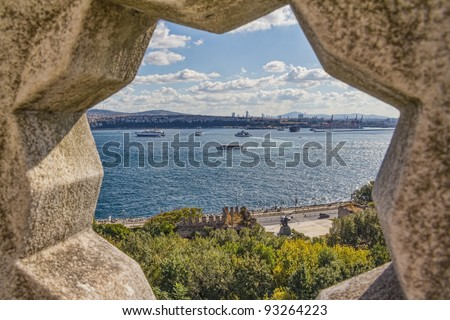 View of the Bosporus through the stone rosette from Topkapi Palace in Istanbul. - stock photo