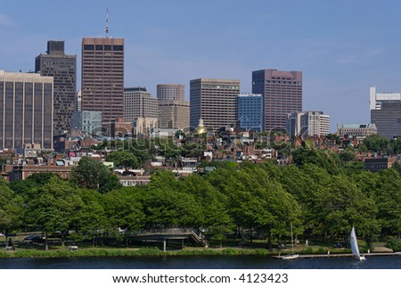 View of the boston skyline above the trees along the coast of the charles river, showing the golden statehouse dome and various skyscrapers