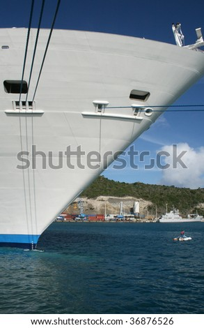 View of the bow of an anchored ship