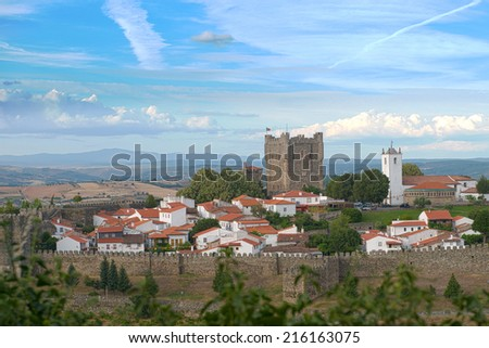 View of the Braganca Castle in Tras-os-Montes, north of Portugal - stock photo