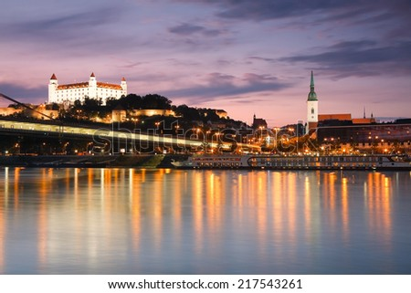 View of the Bratislava castle over the river Danube, Slovakia. - stock photo