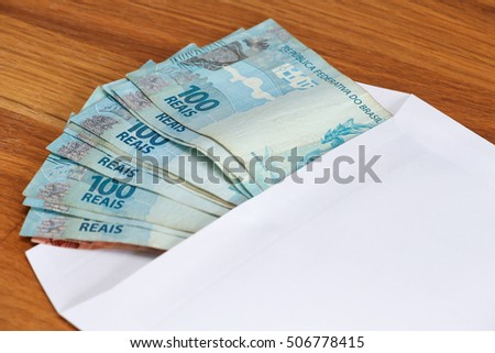 View of the Brazilian currency on the mailer