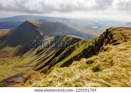 View of the Brecon Beacons National Park from the peak of Pen Y Fan - stock photo