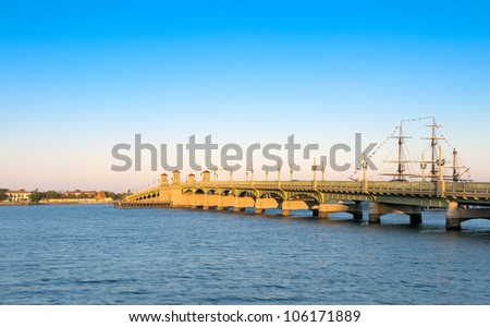 View of the Bridge of Lions in St. Augustine, Florida. This is a very popular tourist destination. - stock photo