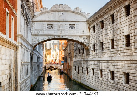 View of the Bridge of Sighs (Ponte dei Sospiri) and the Rio de Palazzo o de Canonica Canal from the Riva degli Schiavoni in Venice, Italy. The Ponte de la Canonica is visible in background. - stock photo