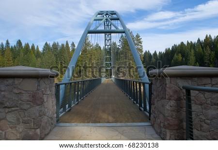 View of the bridge path over Lake Siskiyou, California, USA - stock photo
