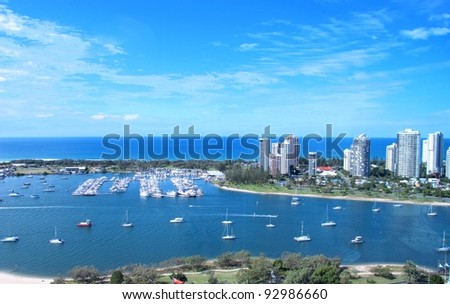 View of the Broadwater from Southport - stock photo