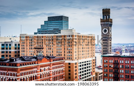 View of the Bromo-Seltzer Tower from a parking garage in Baltimore, Maryland. - stock photo
