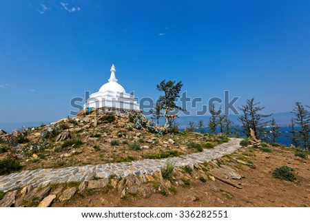 View of the Buddhist mortar on the island Ogoy on Lake Baikal, Russia - stock photo
