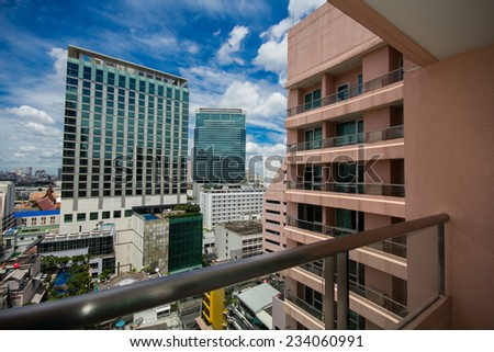 View of the building and Bangkok city - stock photo
