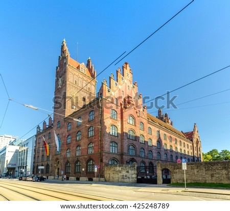 view of the building of oberlandesgericht courthouse in german city munich - stock photo