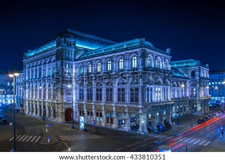 view of the building of opera in vienna during night - stock photo