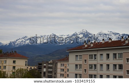 View of the Building with the alps  mountain background at Grenoble, France.