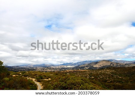 View of the Cachuma Mountains near Santa Barbara with a cloudy sky. - stock photo