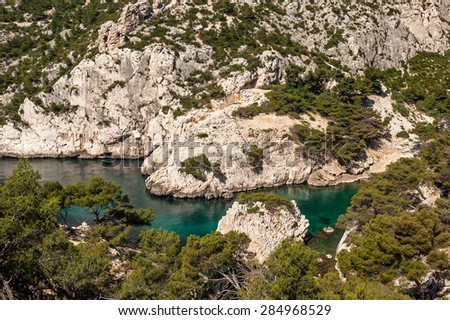 """View of the Calanque """"Sugiton"""" near Marseille in South France - stock photo"""