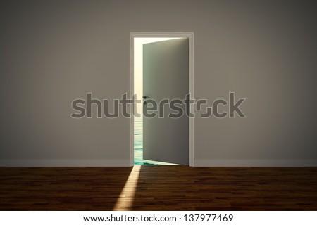 View of the calm sea, seen through an slightly open door. - stock photo